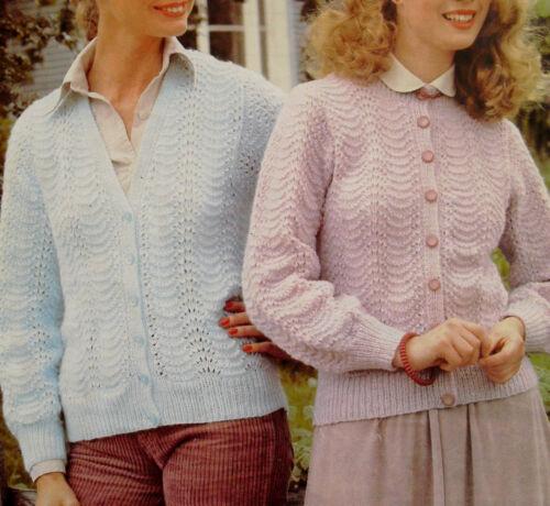 "#115 Ladies Lacy Round /& V Neck DK Cardigan Vint Knitting Pattern 32-38/"" 81-97cm"