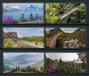 New-Zealand-NZ-2018-MNH-Cycle-Trails-6v-Set-Cycling-Bridges-Mountains-Stamps