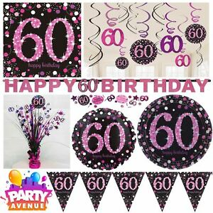 Pink-Sparkling-Celebration-60th-Birthday-Party-Tableware-Decorations-Balloons