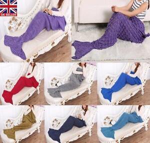 Mermaid Tail Blanket Crocheted Cocoon Sofa Quilt Rug Knit Christmas Adult Kid