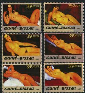 Nude-Paintings-Modigliani-mnh-set-of-6-stamps-2005-Guinea-Bissau
