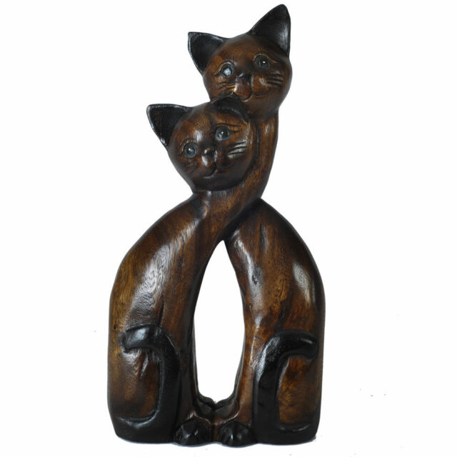 """ACACIA WOOD TWIN CATS 16"""" HAND CARVED ANIMAL FIGURE ORNAMENT SCULPTURE NEW"""