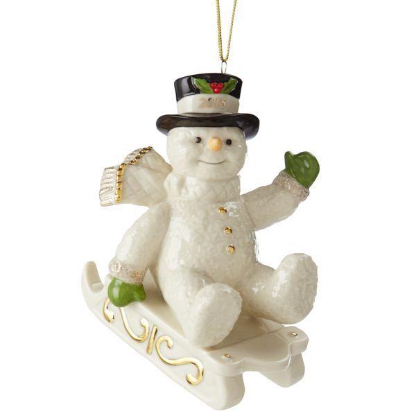 Lenox 2015 Annual SNOWY SLEIGH RIDE SNOWMAN Ornament *DATED*  NEWinBOX