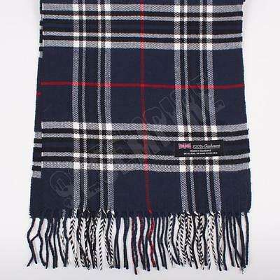 Women 100/% CASHMERE Scarf Baby Blue Big Plaid Design Soft MADE IN SCOTLAND