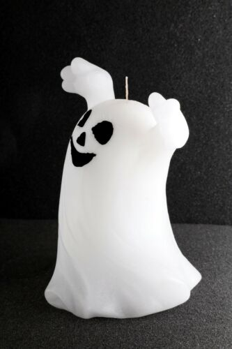 Spooky White Ghost Smile 4.5/'/' Candle Halloween Holiday Decor Haunted House Wax