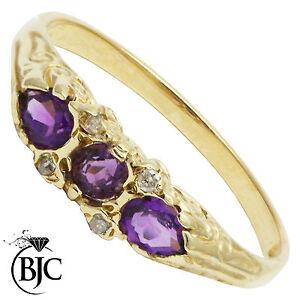 BJC-9ct-Yellow-gold-Amethyst-amp-Diamond-Trilogy-Three-Stone-ring-R269