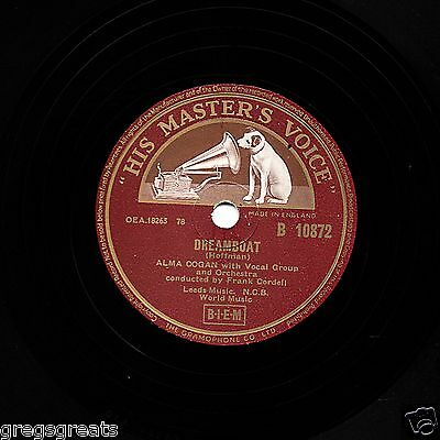 "UK  No.1 MAY 1955 ALMA COGAN 78  "" DREAMBOAT / IRISH MAMBO ""  HMV B 10872 EX-"