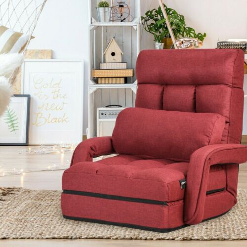 Lazy Boy Recliner Chair Red Fabric Armchair Adjustable Folding with Pillow Sofa