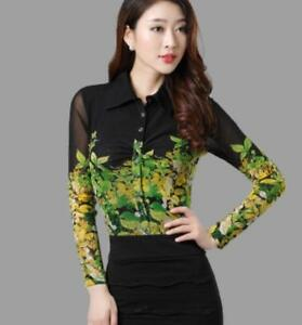 Womens-Black-Mesh-Floral-Printed-Shirt-Slim-Fit-Long-Sleeves-Career-Blouses-Hot
