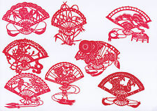 Chinese Paper Cut Fan Shape Style Set 8 RED small pieces Handmade