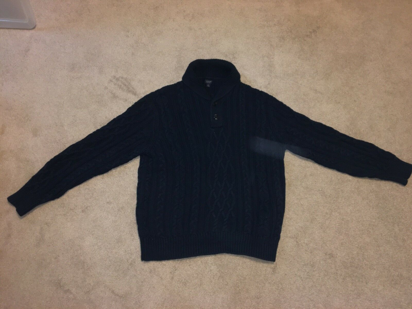 J. Crew Men's Large Navy bluee Shawl Cardigan Cable Knit Sweater