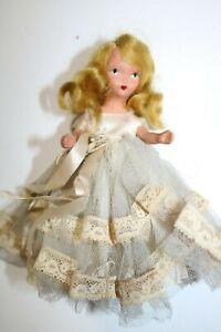 Vintage-Storybook-5-034-Bisque-Doll-Blue-Tulle-Dress
