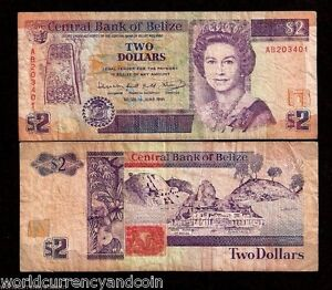 Details About Belize 2 Dollars P52 1991 Queen Ruins Used Caribbean Currency Money Uk Bank Note