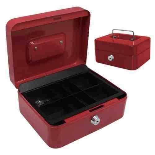 NEW 10 CASH BOX RED SAFE BANK DEPOSIT SECURITY STEEL METAL CASH BOX MONEY