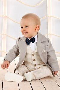 online retailer 8b01c 69a60 Dettagli su Abito da battesimo maschietto beige-panna misto cotone vestito  da cerimonia 1911