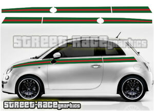 Gucci Fiat 500 >> Details About Fiat 500 Side Racing Stripes 033 Gucci Style Decals Vinyl Graphics Stickers