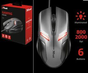 Mouse da gioco TRUST Pro game gamer.Ottico,con luci rosse rosso.Cavo USB 6 tasti