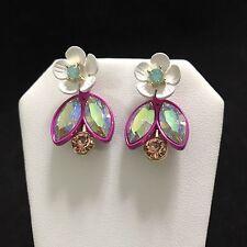 cff72335b1f8b Betsey Johnson Pink White Flower Jacket Crystals MINT Green Earrings