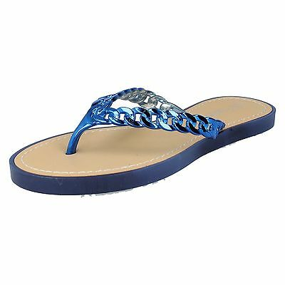 Savannah F0R793 Ladies Toe Post Flip Flops Yellow//Gold Faux Chain UK3x8 25A
