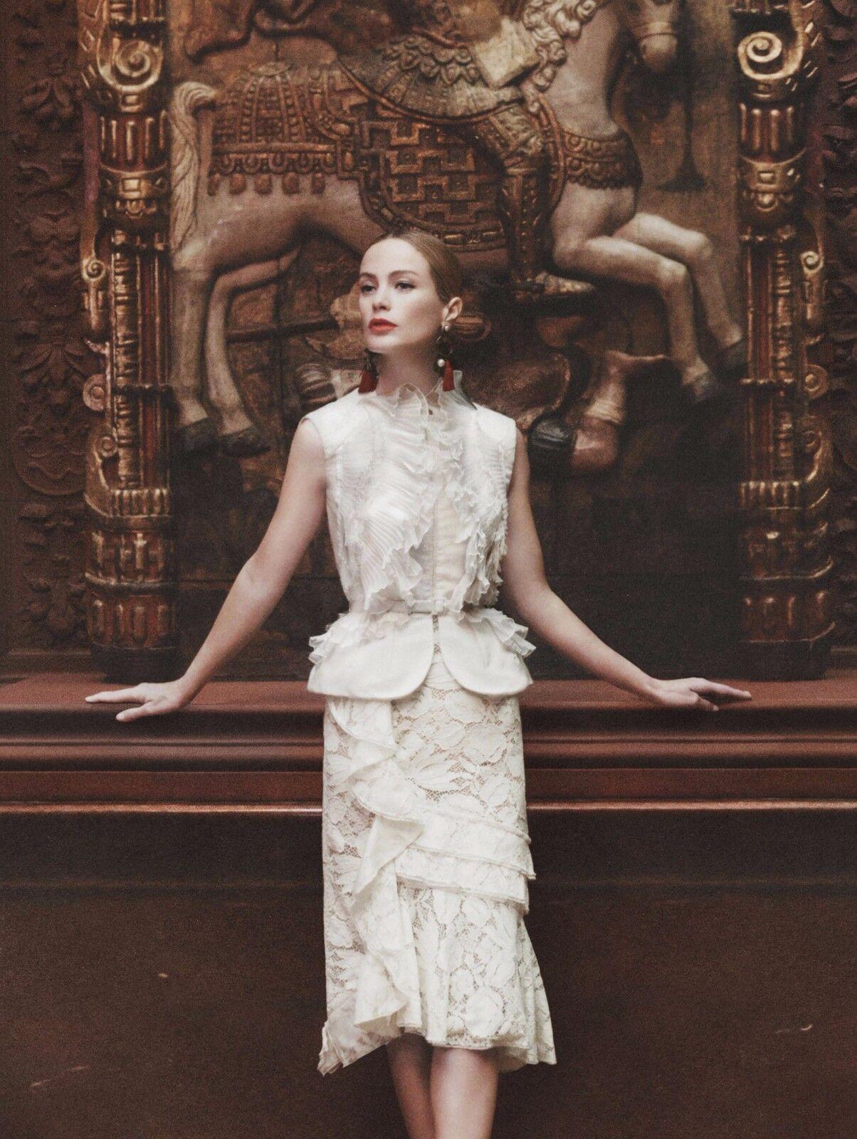 2590 New Oscar de la Renta Lace Cascade Ruffle Skirt Ivory off white  0 2