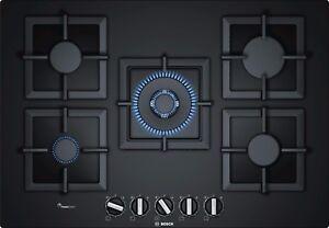 Piano cottura a gas Bosch PPQ7A6B20 di 75 cm - Vetro temperato nero ...