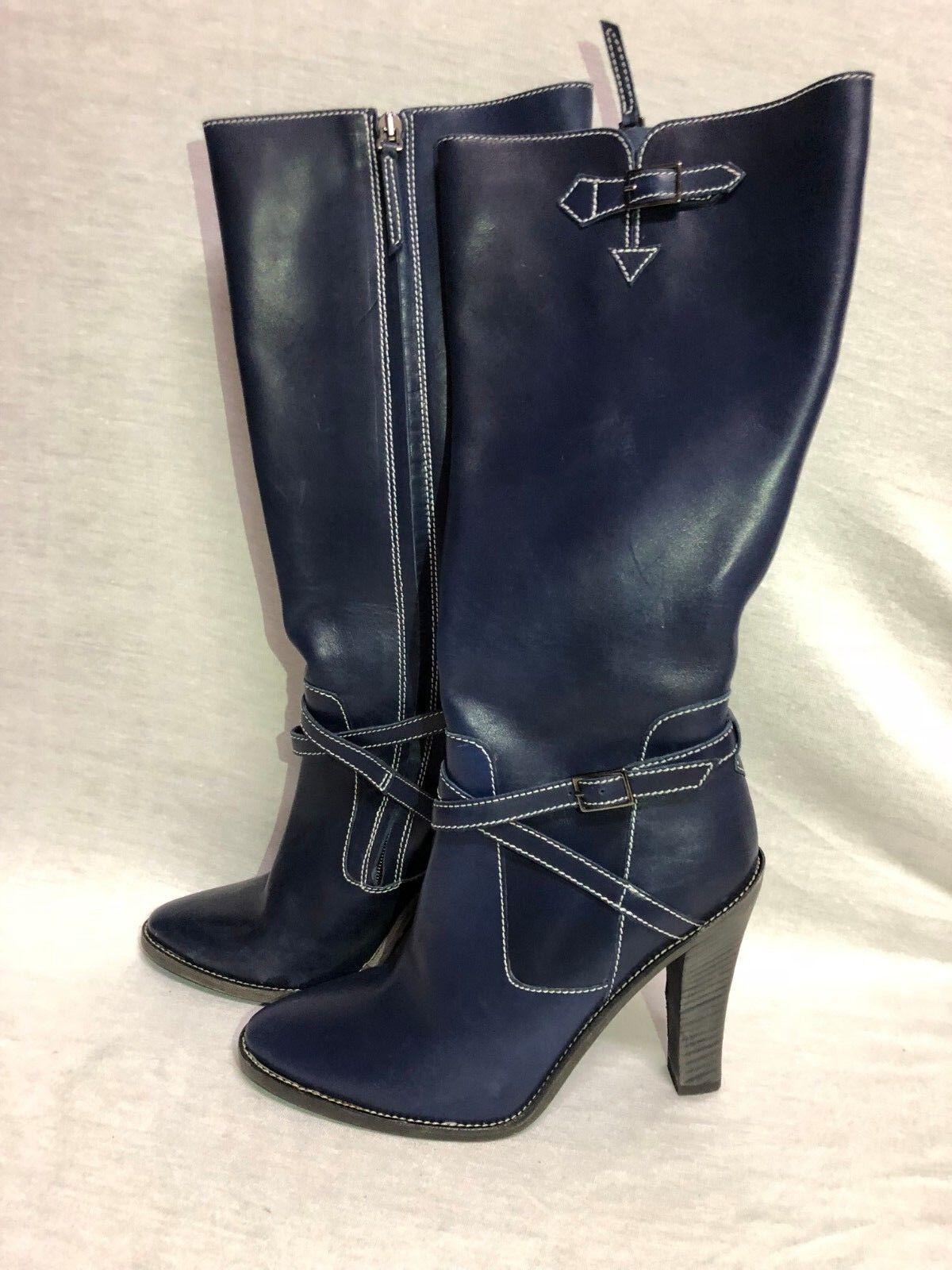 BCBG MAXAZRIA  chaussures Tall bottes Faux Leather Navy bleu zipper   Taille  8B   38.5