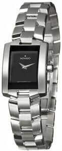 Movado Women's 0604133 Eliro Watch , Black Dial, Rectangular Shape New In box