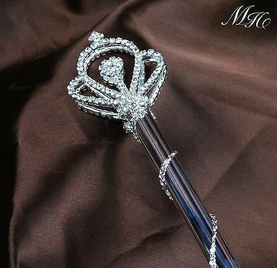 Royal Rhinestone Pageant Bridal Magic Fairy Queen Crown Double Side Scepter Wand