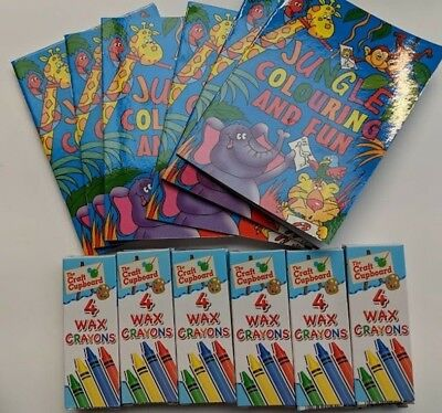 Jungle Animals 12 X Mini Colouring Books Crayons Party Bag Toy Fillers B Ebay
