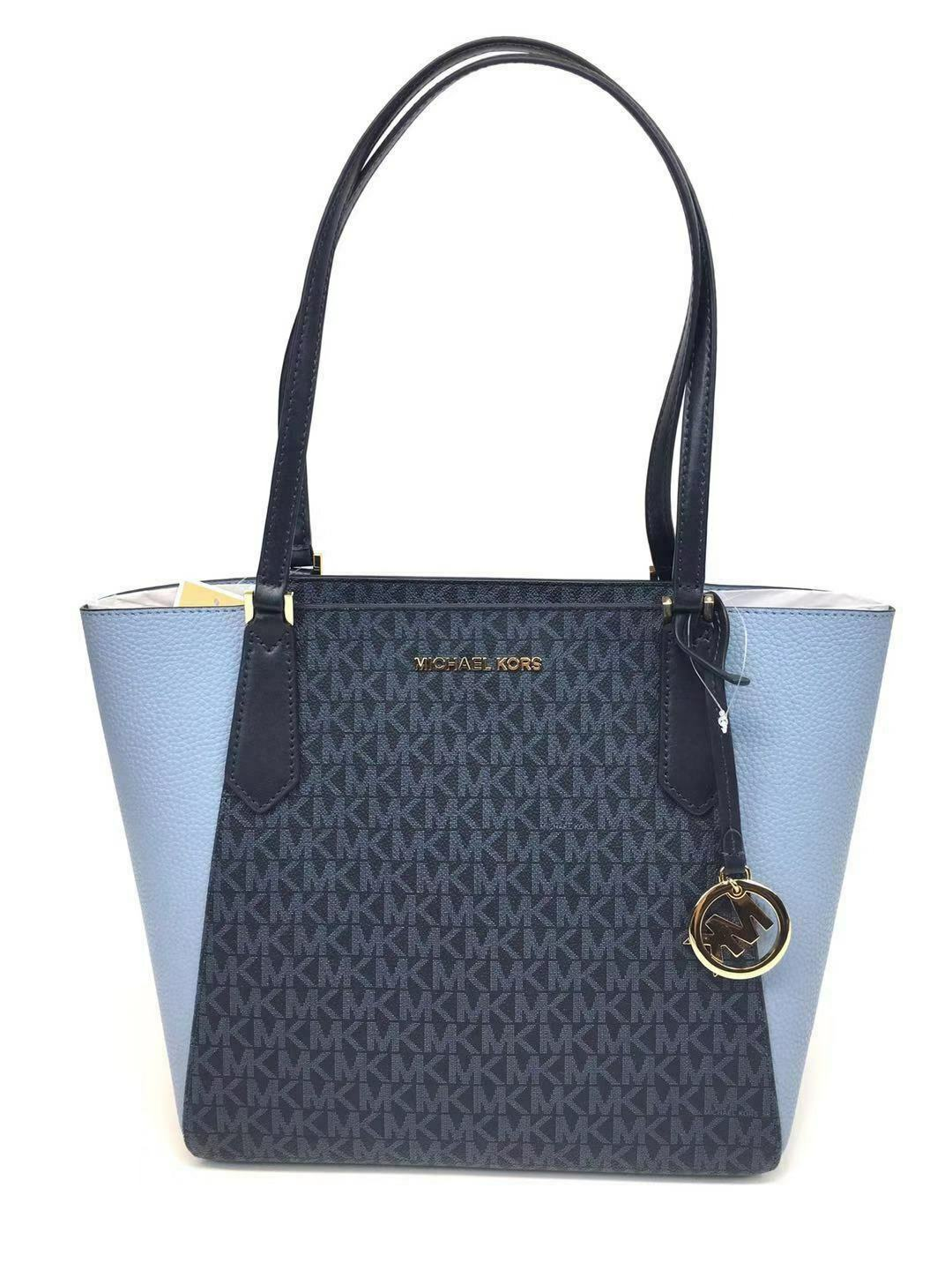 5d576c825c45 Michael Kors MK Logo PVC Kimberly Small Bonded Tote Bag in Admiral/pale  Blue for sale online | eBay