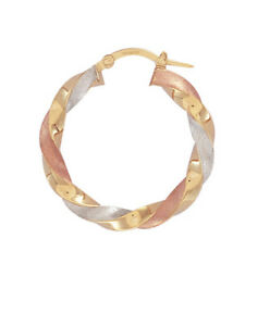 dbb2cb89e863f Details about 9ct Three Colour Gold Satin Twist Hoop Earrings 28mm *Brand  New*