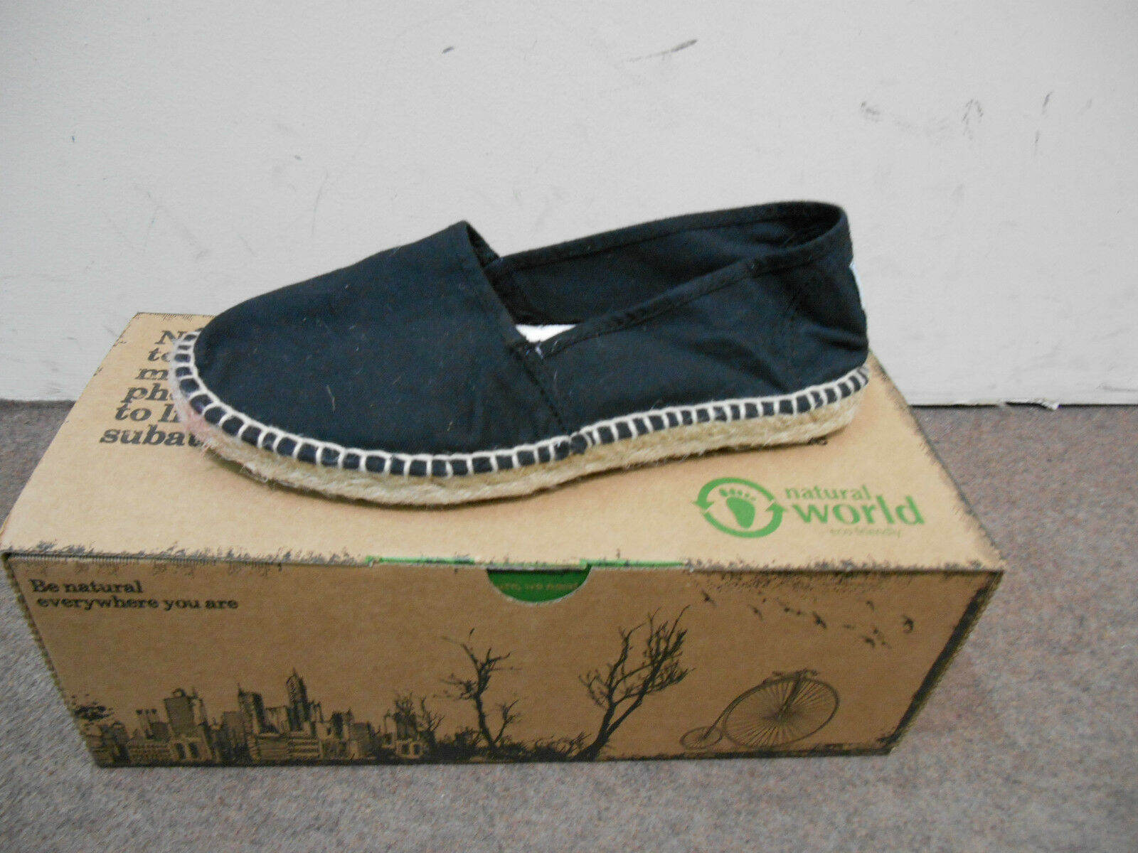 NATURAL WORLD WOMEN'S SHOES ESPADRILLES SUMMER CAMPING YUTE COL.501 BLACK