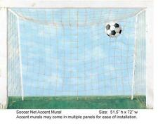 Wallpaper Mural 4 Panel Soccer Goal Mural, Blue Background with Green