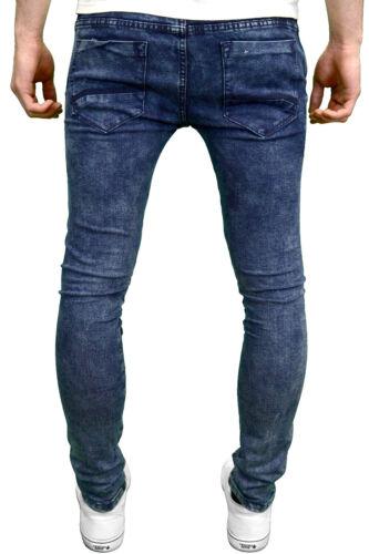 Soulstar Mens Skinny Fit Ribbed Panel Stretch Denim Biker Jeans