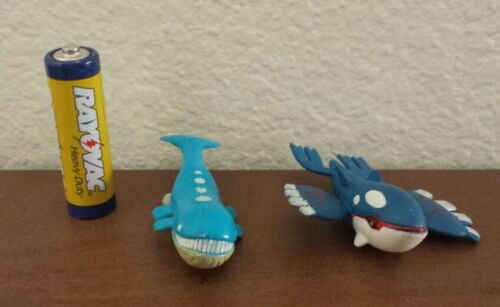 3rd Generation pokemon plastic action figure set Wailord Kyogre 1-2 inches tall