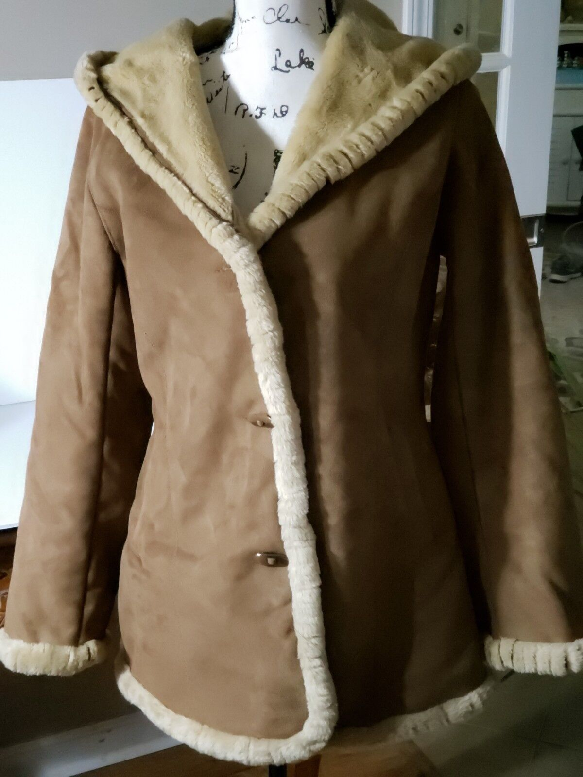 Jones New York Womens Winter Coat Suede SZ Small Hooded Lined Very Warm Brown
