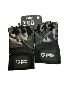 Steel Sweat Workout Gloves CAMO ZED Small Wrist Wrap Weightlifting Gym Fitness