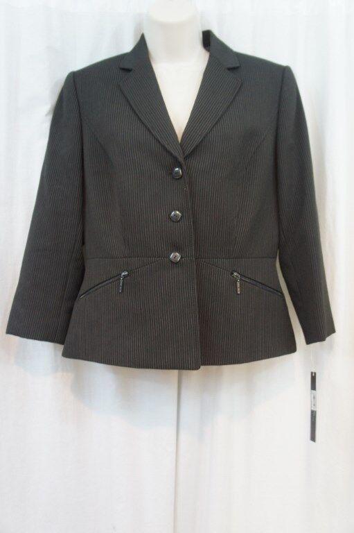 Tahari ASL Petite Blazer Sz 6P Charcoal Grey Business Career Evening Blazer