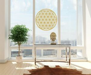 aufkleber blume des lebens lebensbume gold metallic wandtattoo fensteraufkleber ebay. Black Bedroom Furniture Sets. Home Design Ideas