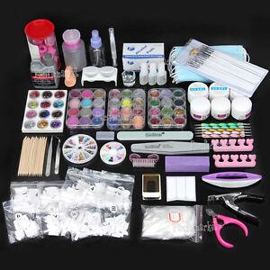 Nail-Art-Care-Set-48pc-Acrylic-Powder-UV-Gel-Manicure-DIY-Tips-Polish-Brush-Kit
