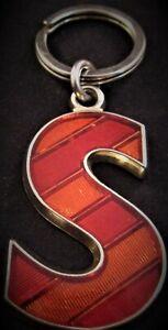 Vintage-Letter-034-S-034-Red-Enamel-Keychain