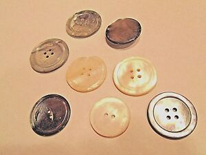 Antique Mother Of Pearl Buttons 2 And 4 Hole Disc Grey And Cream