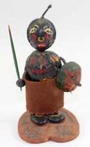 "Antique Primitive ""Walnut Warrior"" Black Amercana Country Folk Art Figurine"