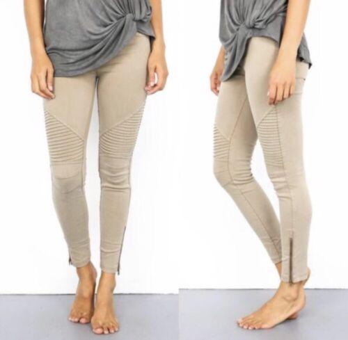 stretch Women/'s l//XL Khaki Jean stretch  Moto Pant women pants