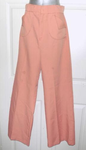 Vintage 70s Peach Wide Leg Polyester Pants Slacks