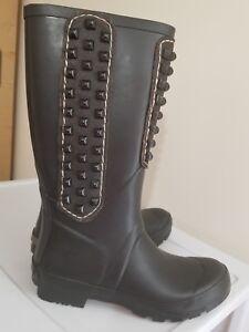 BCBG-MaxAzria-Military-Black-Studded-Rubber-Boots-Rain-boots-Wellies-Size-7