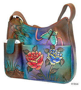 Image is loading Sova-Hand-Painted-Leather-Phone-Organizer-Hobo d1ccb11e69