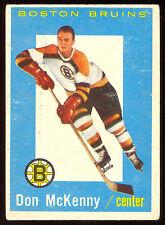 1959 60 TOPPS HOCKEY #9 DON MCKENNY EX COND BOSTON BRUINS CARD