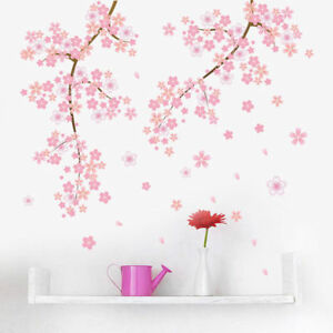 Image Is Loading Pink Cherry Blossom Wall Art Sticker Mural Flower