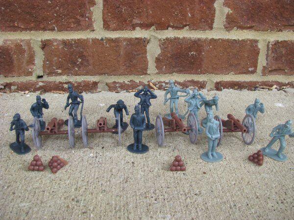 Civil War Artillery Toy Soldier Set Cannons Union Confederate Playset Gettysburg